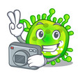 photographer cartoon microbes on the humans hand vector image