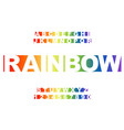 rainbow stylized vintage font and vector image