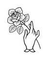 rose tattoo with hand isolated vector image vector image