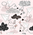 seamless pattern paper airplanes and clouds in vector image vector image