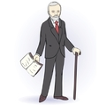 Senior man stands holding a book vector image