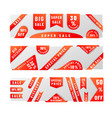 set bright red sale badge stickers with shadow vector image