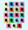 set of brain activity icons with long shadow vector image