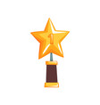 shiny star trophy on brown base golden grand vector image vector image