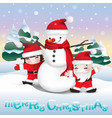 snowman and children vector image vector image