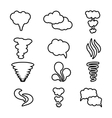 steam cloud and smoke icons set vector image