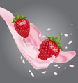 strawberries in pink milk vector image vector image