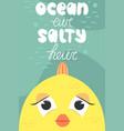 summer postcard with cute fish cartoon ocean air vector image vector image