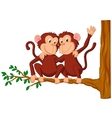 Two monkeys cartoon sitting on a tree vector image vector image