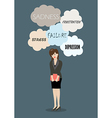 Weeping business woman under a lot of trouble vector image vector image