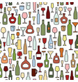 wine bottle wine glass tile pattern drink wine vector image