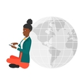 Woman sitting near globe vector image vector image