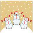 Three funny snowmen happy vector image
