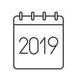 2019 annual calendar linear icon