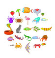 animal kingdom icons set cartoon style vector image vector image