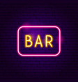 bar neon label vector image vector image