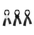 black ribbons collection funeral symbol vector image vector image