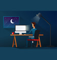 business man working late night workload concept vector image