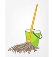 cartoon home miscellaneous mop vector image vector image