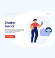chatbot banner concept with a man chatting with vector image