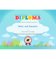 Colorful diploma certificate for kids template vector image