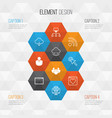 connection icons set collection of followed team vector image vector image