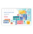 credit and debit cards people in bank website vector image vector image
