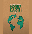 earth day paper cut world map vector image vector image