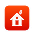 eco house concept icon digital red vector image vector image