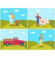 farmer with milk products set vector image vector image