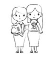 figure teacher with student to class education vector image vector image