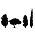 four black silhouette trees set vector image vector image