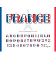 france cartoon font french national flag colors vector image vector image