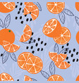 fruit seamless pattern oranges with leaves vector image vector image