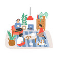 group of people or friends sitting in comfy vector image