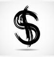 grunge dollar sign drawn brush symbol dollar vector image vector image