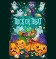halloween witch ghosts and pumpkins with candies vector image vector image