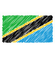 hand drawn national flag of tanzania isolated on a vector image vector image