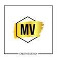 initial mv letter logo template design vector image