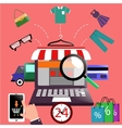 Internet shopping concept laptop with awning vector image vector image