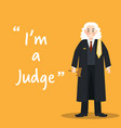 judge character on yellow background flat design vector image vector image