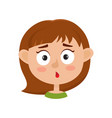 little girl surprised face expression cartoon vector image