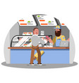 man buys an ice cream on food court vector image