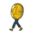 one euro cent coin walk sketch engraving vector image