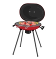 portable barbecue with meat tomatos and peppers vector image