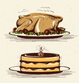 retro smiling housewife cooks roasted turkey vector image