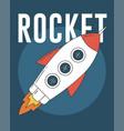 rocket on blue background vector image vector image