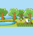 scene with frog and bee in park vector image vector image