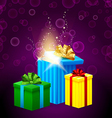 set of gift boxes with beautiful light coming from vector image vector image