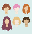 set of simplified female heads with different vector image